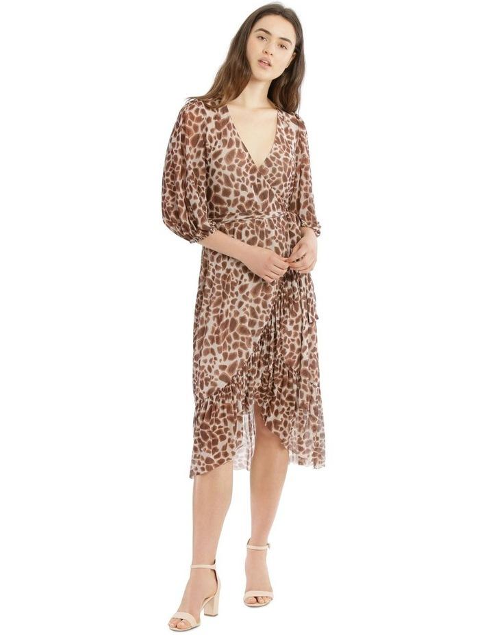 3/4 Sleeve Mesh Print Dress image 1