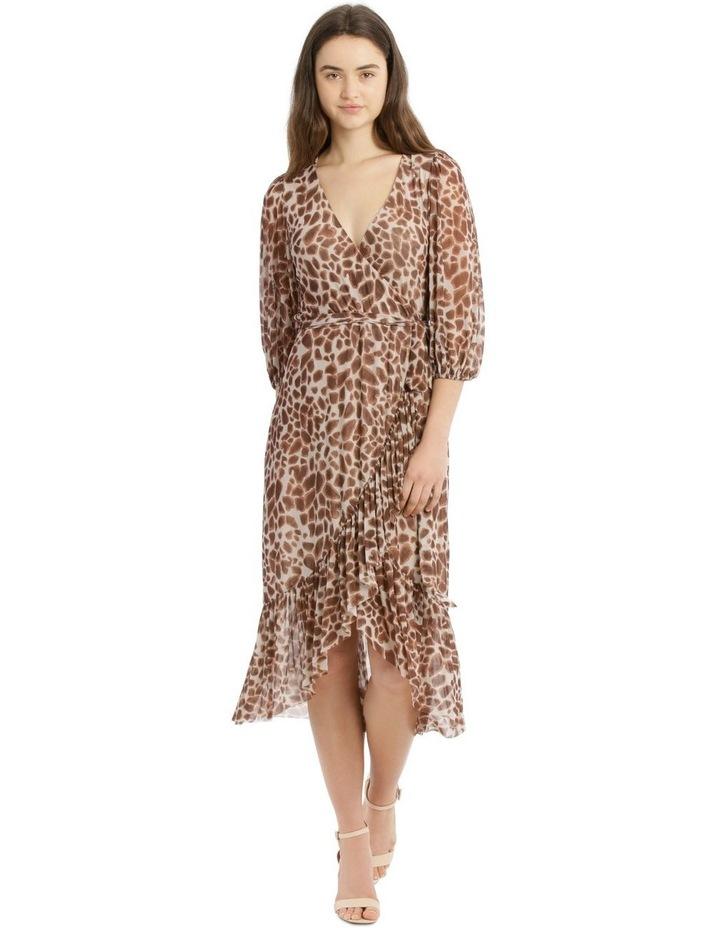 3/4 Sleeve Mesh Print Dress image 5