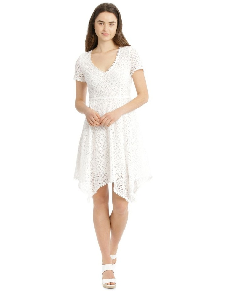 Vee Neck Lace Dress with Asymmetrical Hem image 1