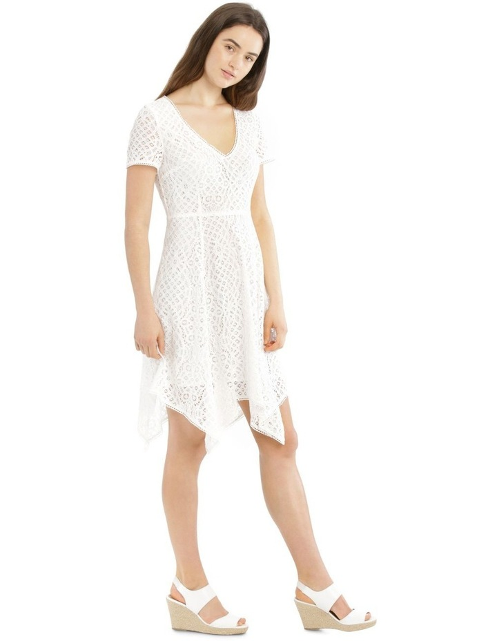 Vee Neck Lace Dress with Asymmetrical Hem image 2