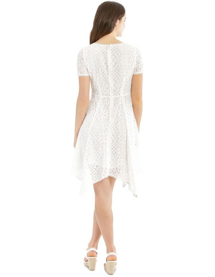 Vee Neck Lace Dress with Asymmetrical Hem image 3