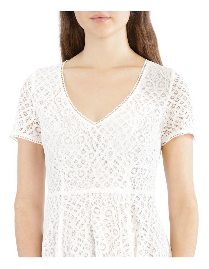 Vee Neck Lace Dress with Asymmetrical Hem image 4