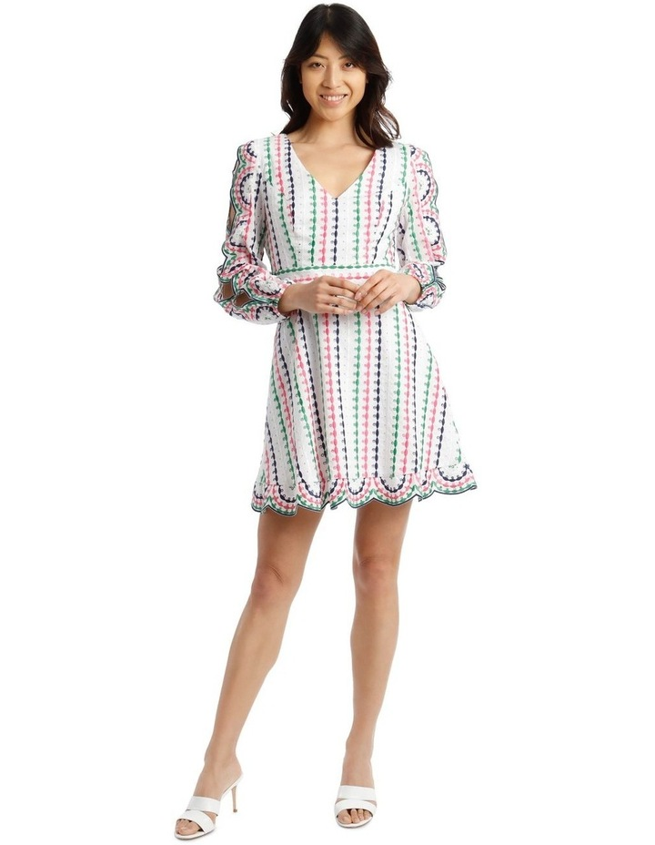 Broderie Short Multi V-Neck Cut Out Sleeve Dress image 1