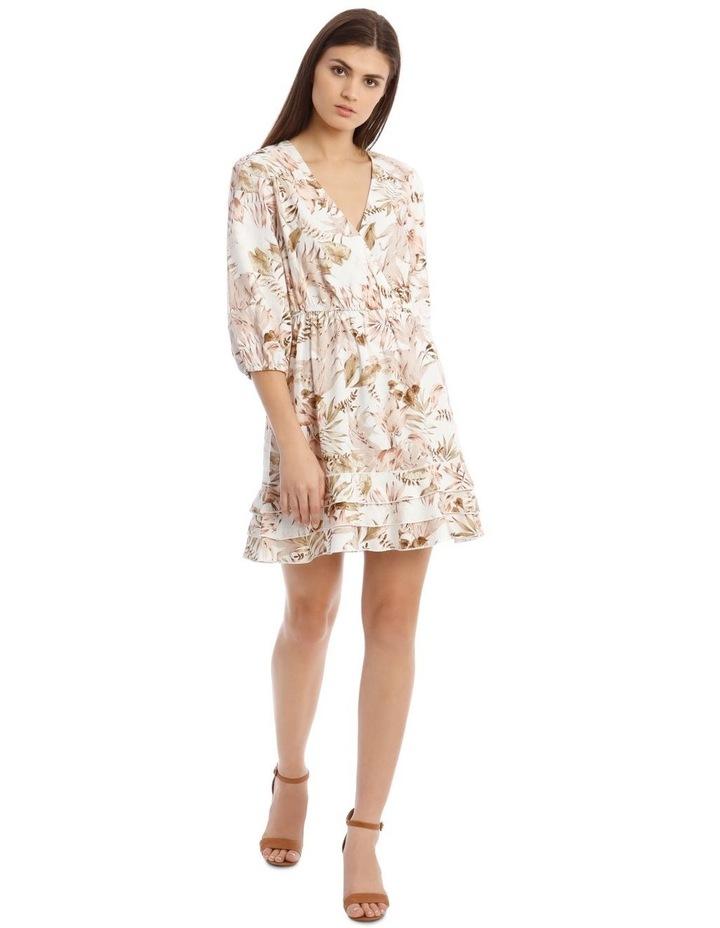 3/4 Sleeve Printed Linen V-Neck Dress image 1