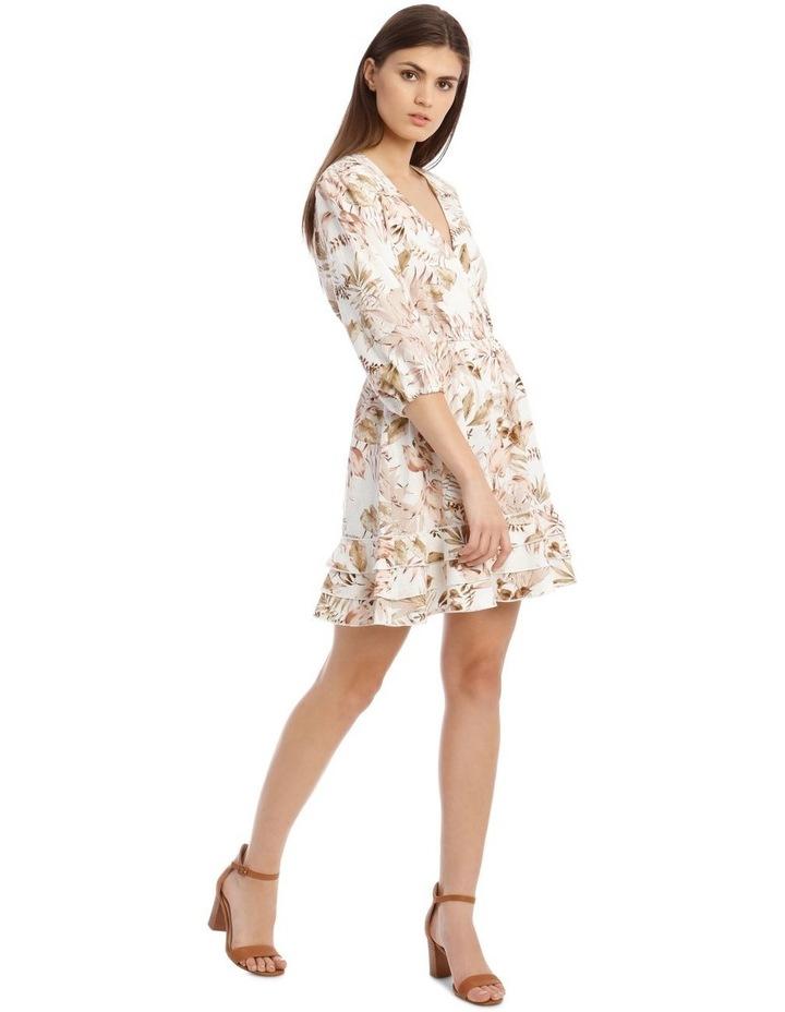 3/4 Sleeve Printed Linen V-Neck Dress image 2