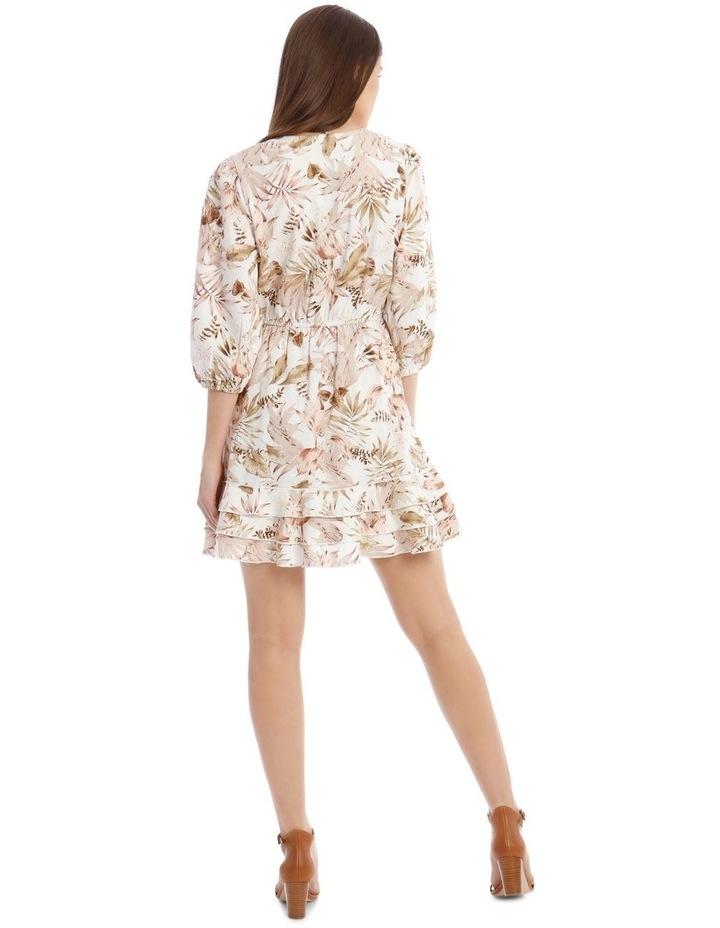 3/4 Sleeve Printed Linen V-Neck Dress image 3