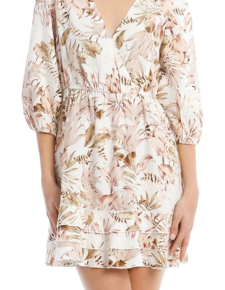 3/4 Sleeve Printed Linen V-Neck Dress image 4