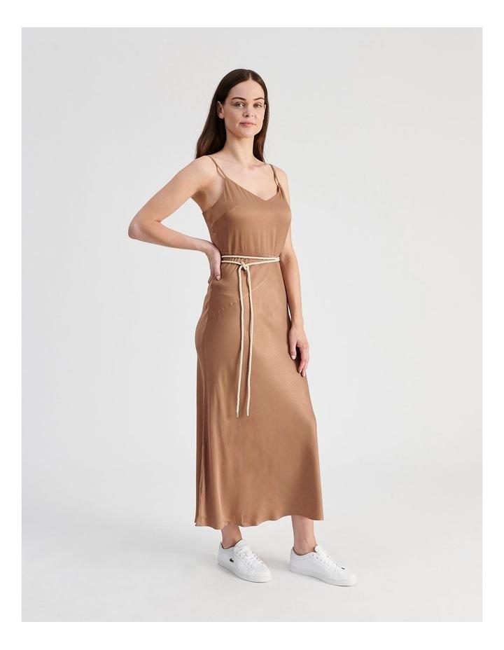 Slip Dress With Rope Tie in Bronze image 2