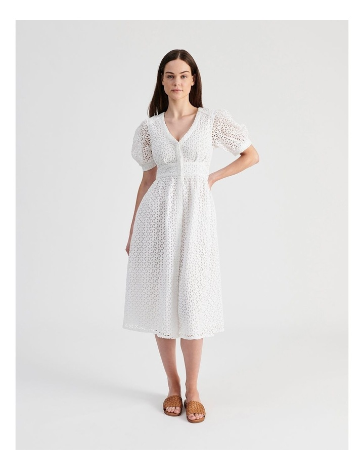 Short Puff Sleeve Broderie Dress White image 1