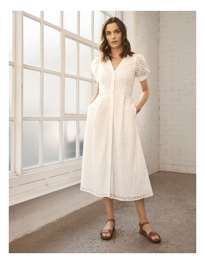 Short Puff Sleeve Broderie Dress White image 2