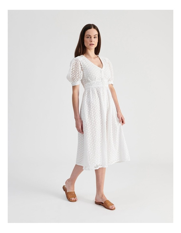 Short Puff Sleeve Broderie Dress White image 3