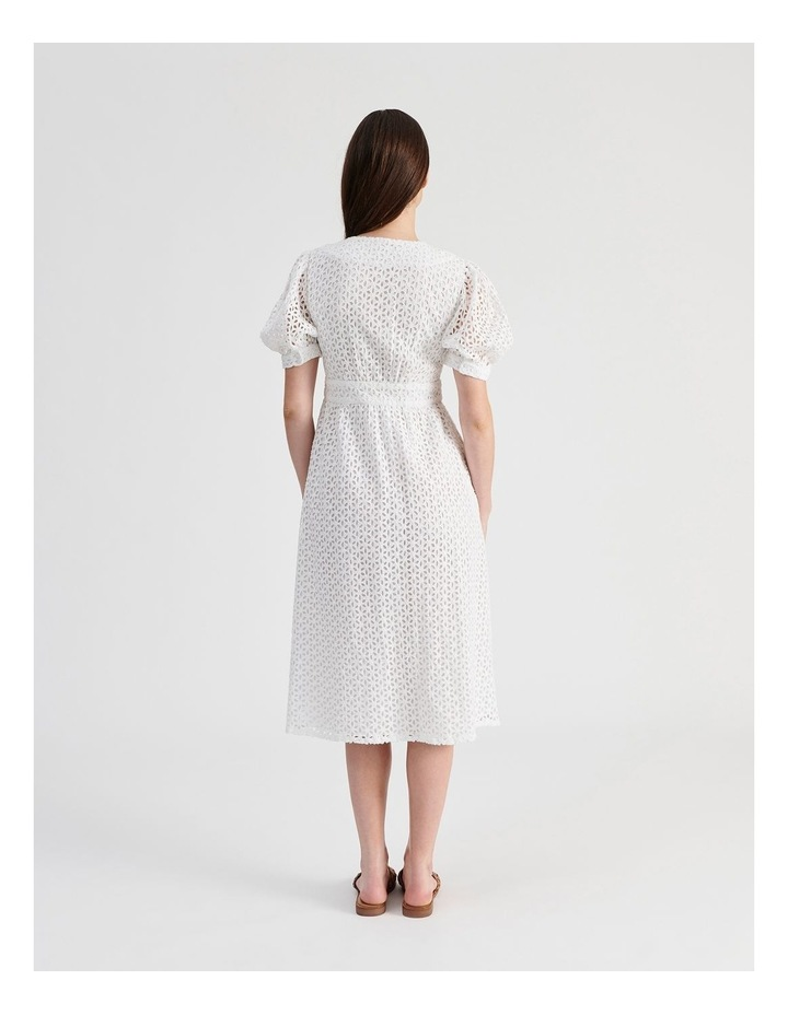 Short Puff Sleeve Broderie Dress White image 4