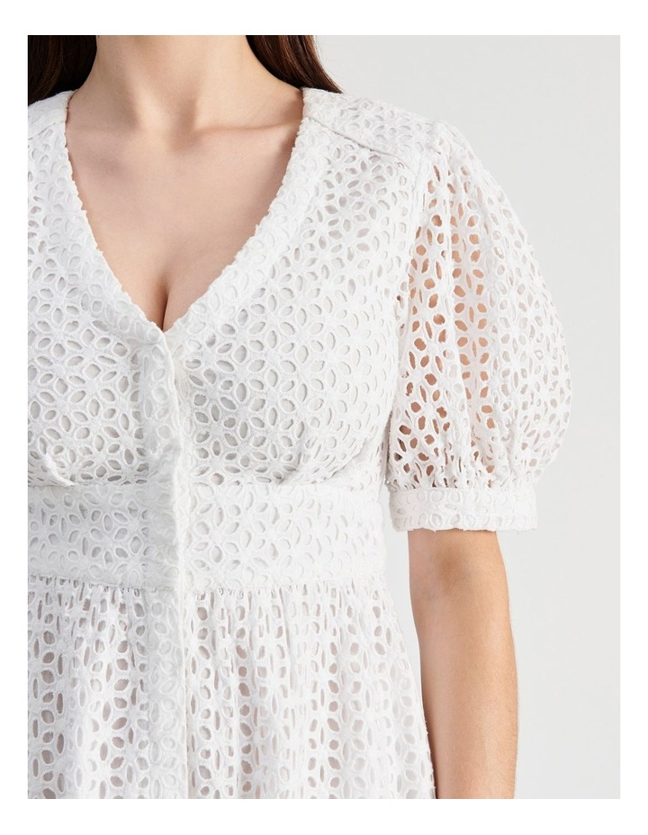 Short Puff Sleeve Broderie Dress White image 5
