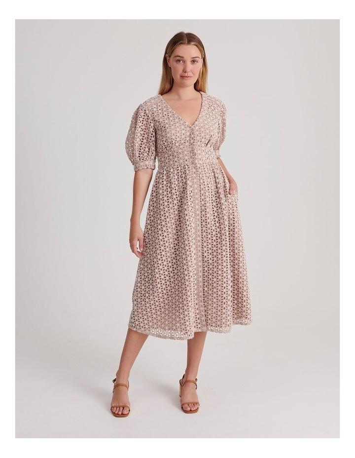 Short Puff Sleeve Broderie Dress image 1