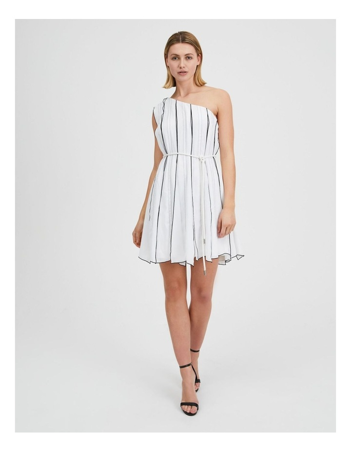 One Shoulder Panel Pleat Dress White image 1