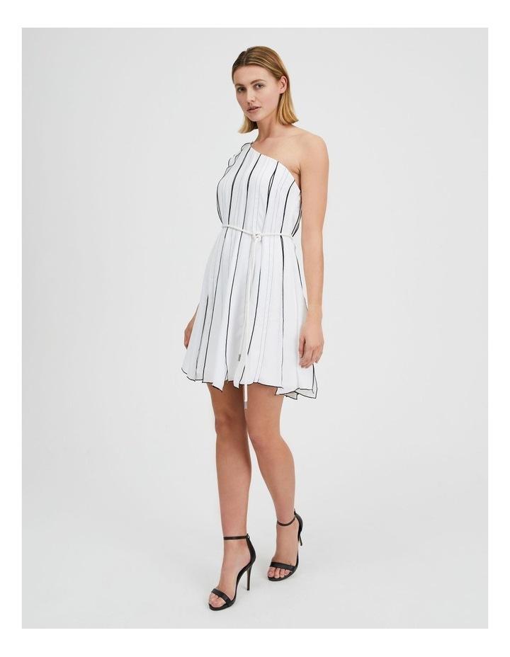 One Shoulder Panel Pleat Dress White image 2