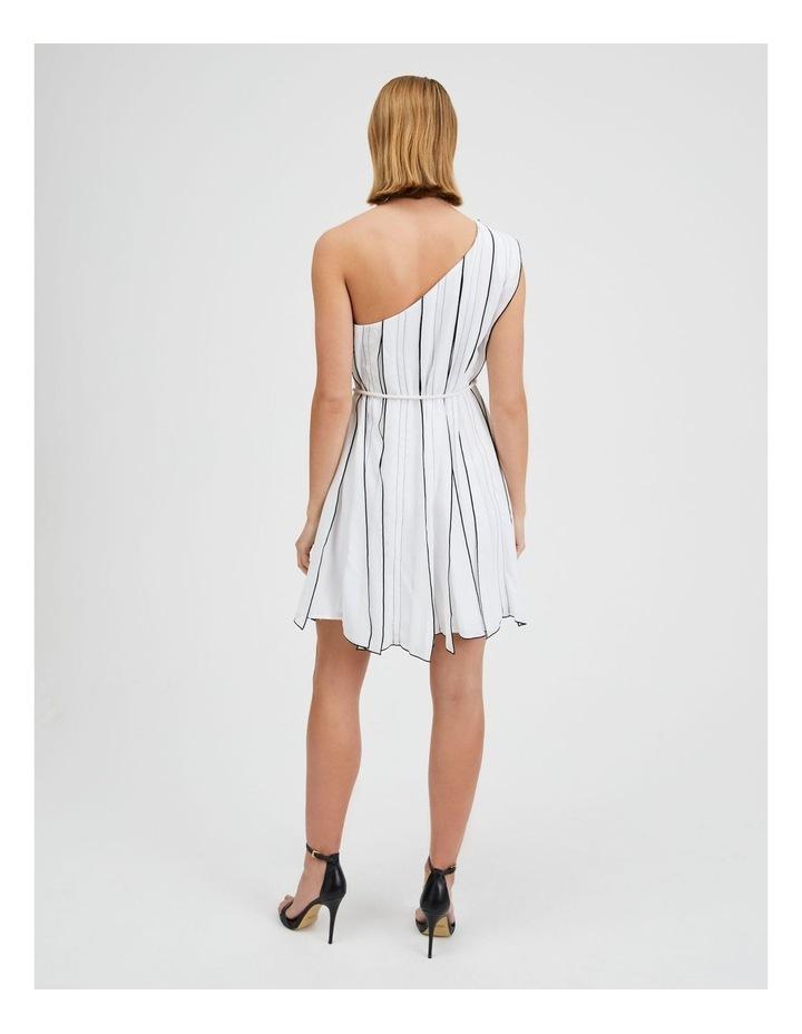 One Shoulder Panel Pleat Dress White image 3