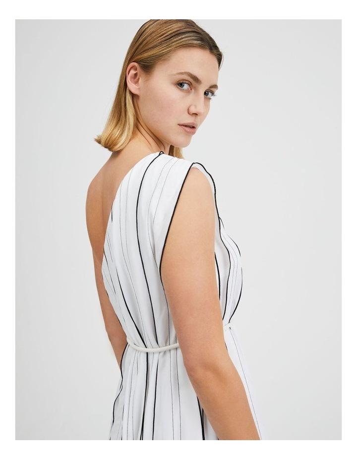 One Shoulder Panel Pleat Dress White image 4