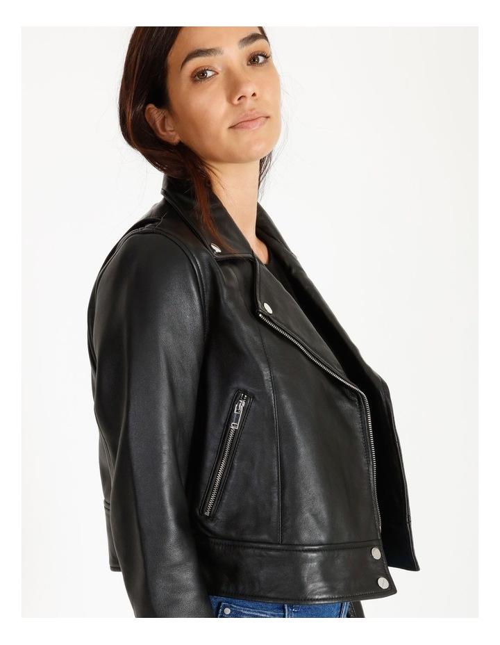 Black Leather Biker Jacket image 3