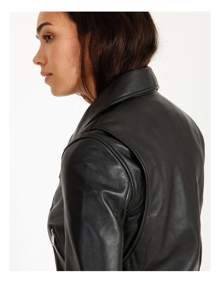 Black Leather Biker Jacket image 6