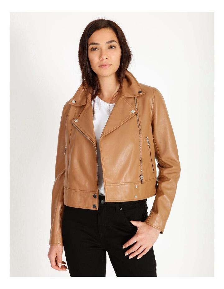 Tan Leather Biker Jacket image 1