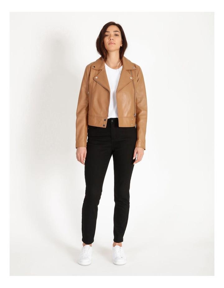 Tan Leather Biker Jacket image 2