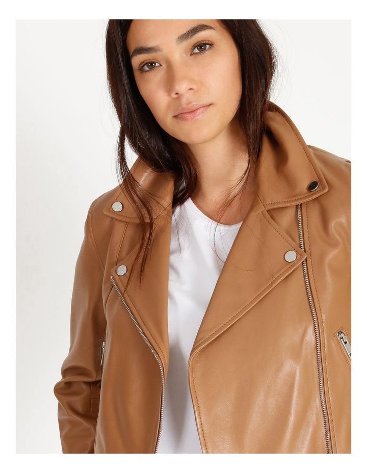 Tan Leather Biker Jacket image 3
