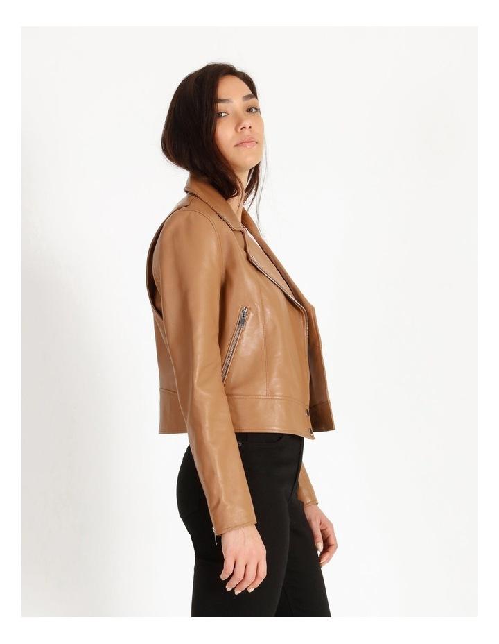 Tan Leather Biker Jacket image 4