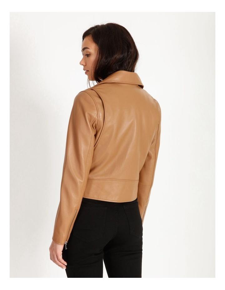 Tan Leather Biker Jacket image 5