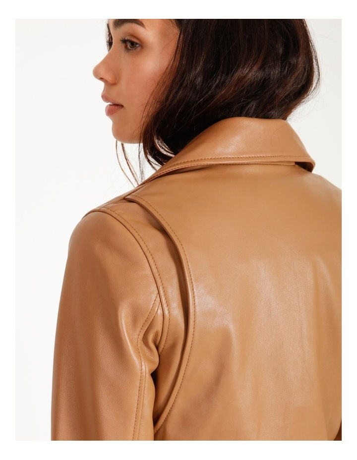 Tan Leather Biker Jacket image 6