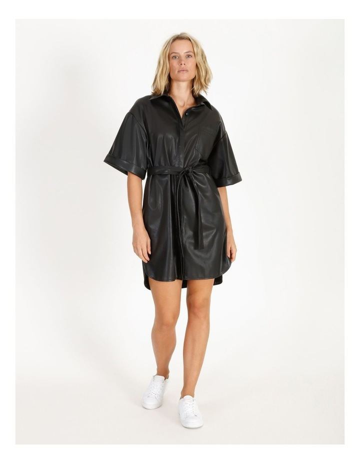 Faux Leather Shirt Dress image 1