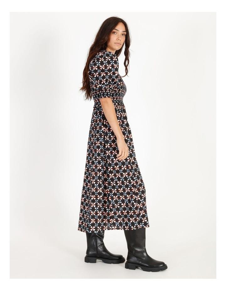 Short-Sleeve Shirred Midi Dress image 2