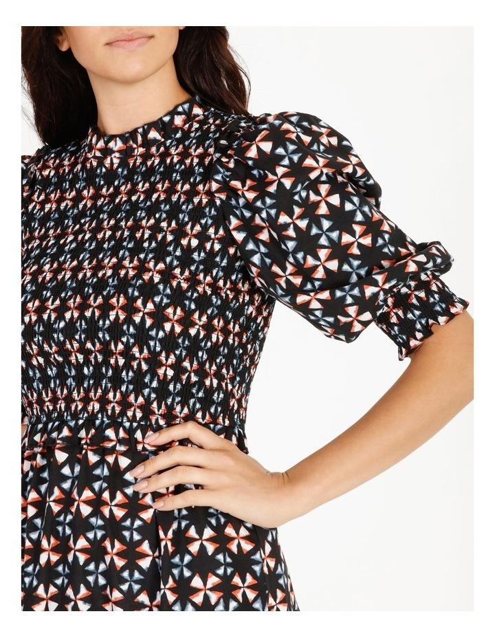 Short-Sleeve Shirred Midi Dress image 4