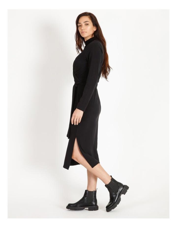 Long Sleeve Wrap Waist Midi Dress image 1
