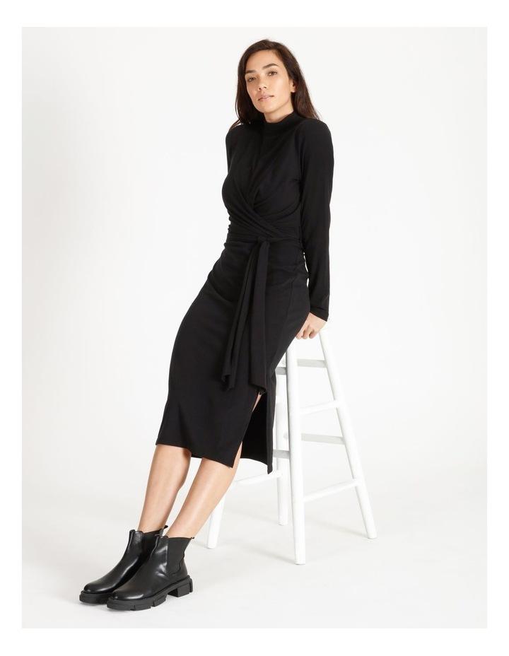 Long Sleeve Wrap Waist Midi Dress image 2