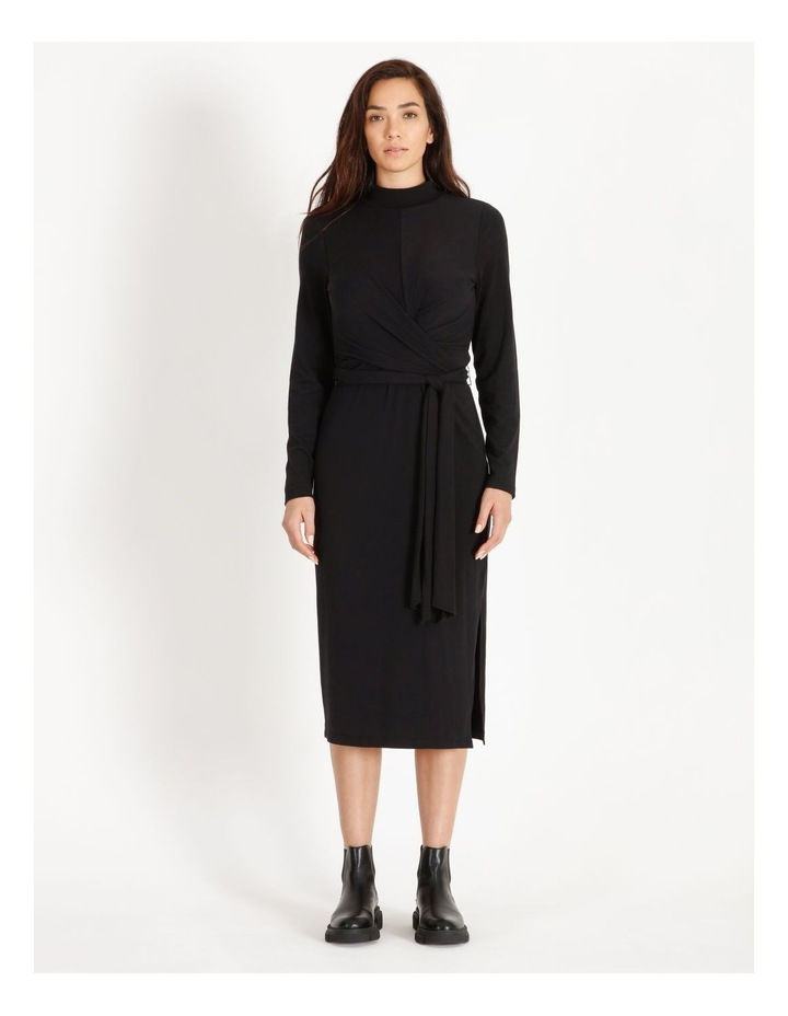 Long Sleeve Wrap Waist Midi Dress image 3