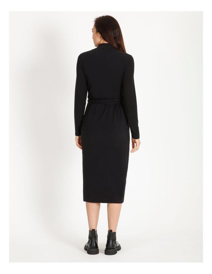 Long Sleeve Wrap Waist Midi Dress image 4