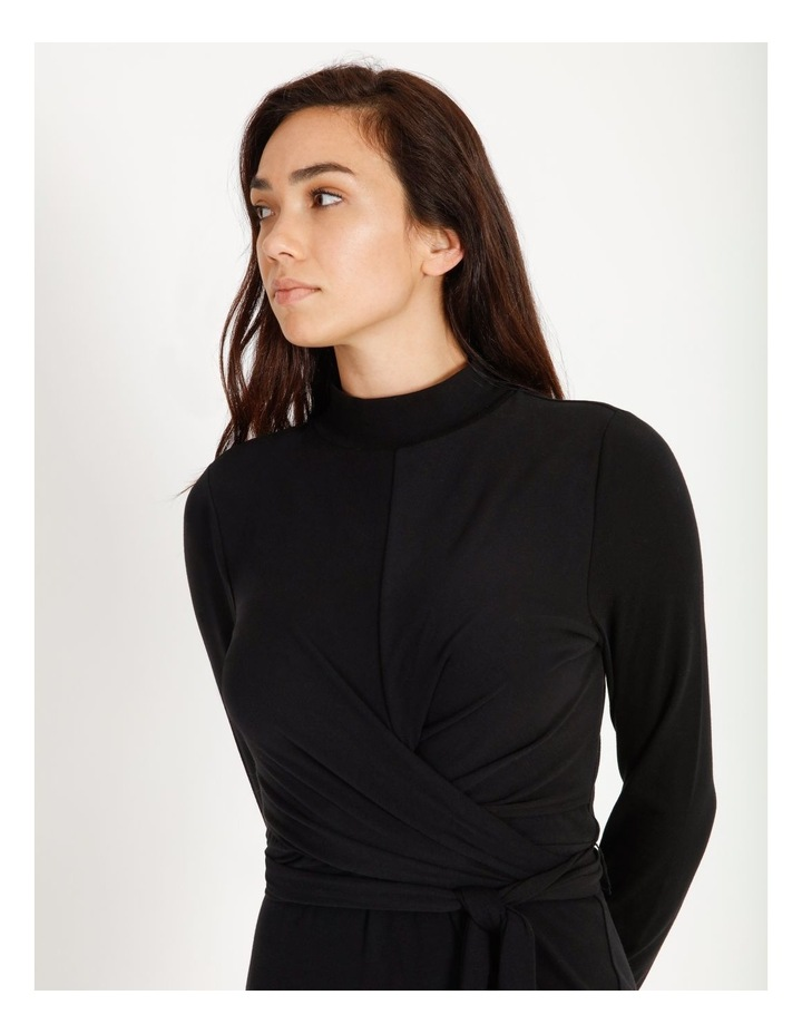 Long Sleeve Wrap Waist Midi Dress image 5