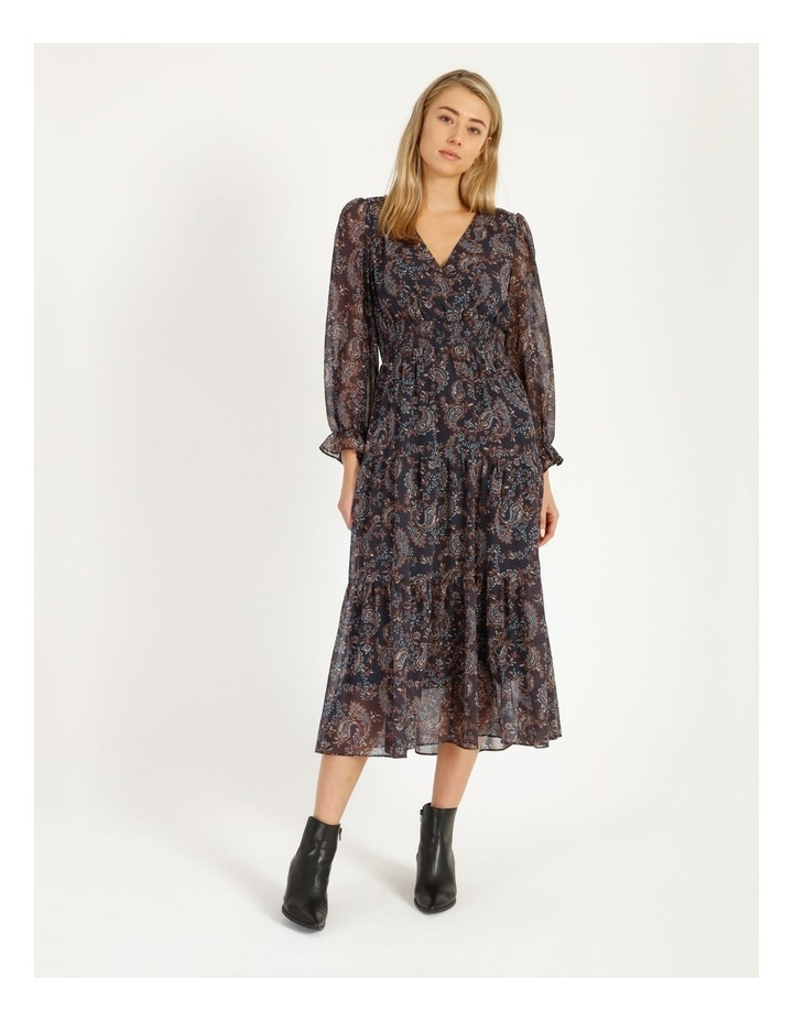 Shirred Waist Long Sleeve Dress image 1