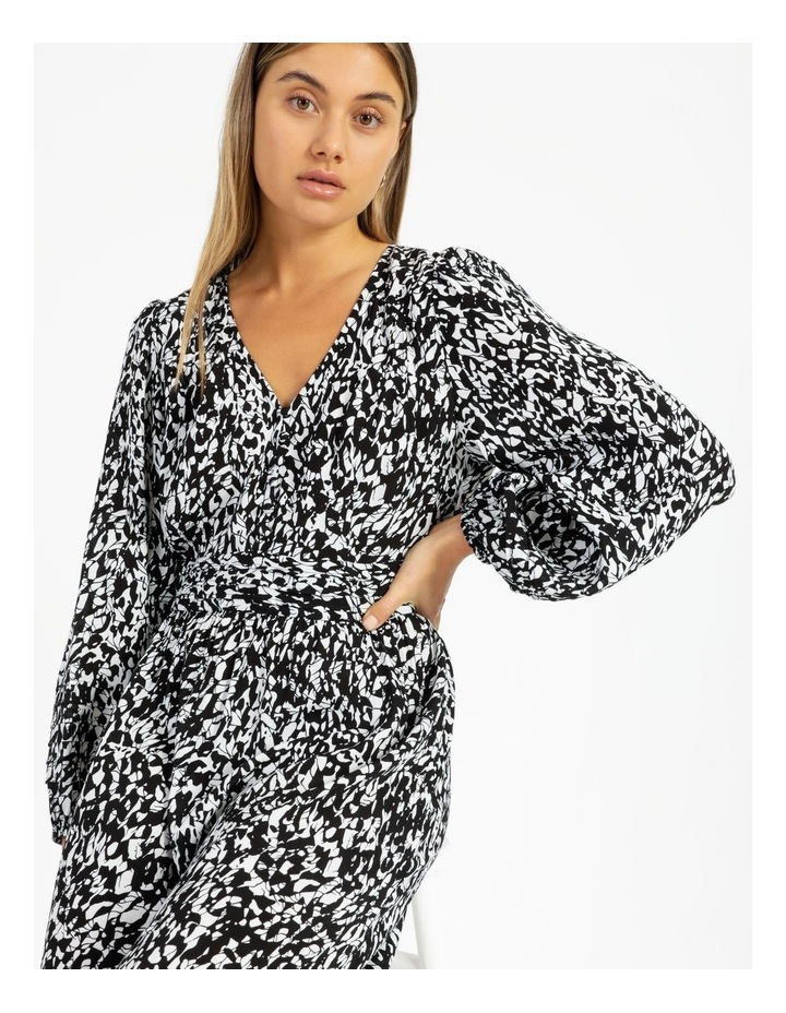 Button Front Tuck Midi Dress - Print image 2