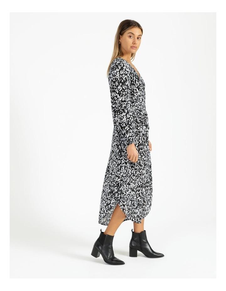 Button Front Tuck Midi Dress - Print image 3