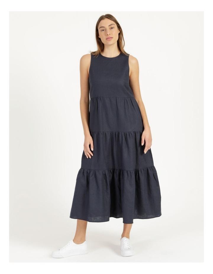 Organic Linen Tiered Tank Dress Indigo image 1