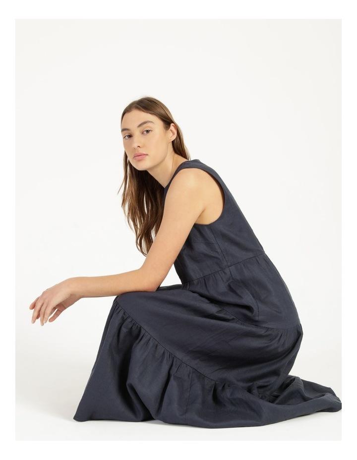 Organic Linen Tiered Tank Dress Indigo image 2