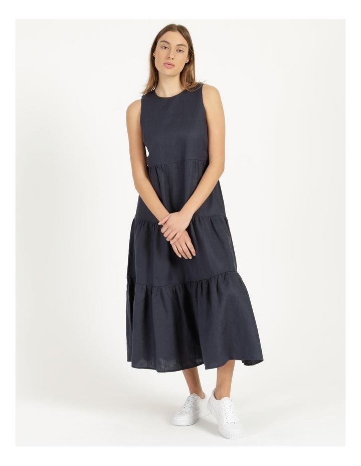 Organic Linen Tiered Tank Dress Indigo image 3
