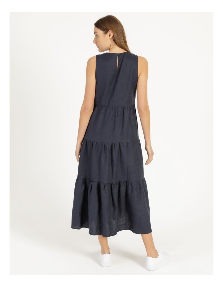 Organic Linen Tiered Tank Dress Indigo image 4