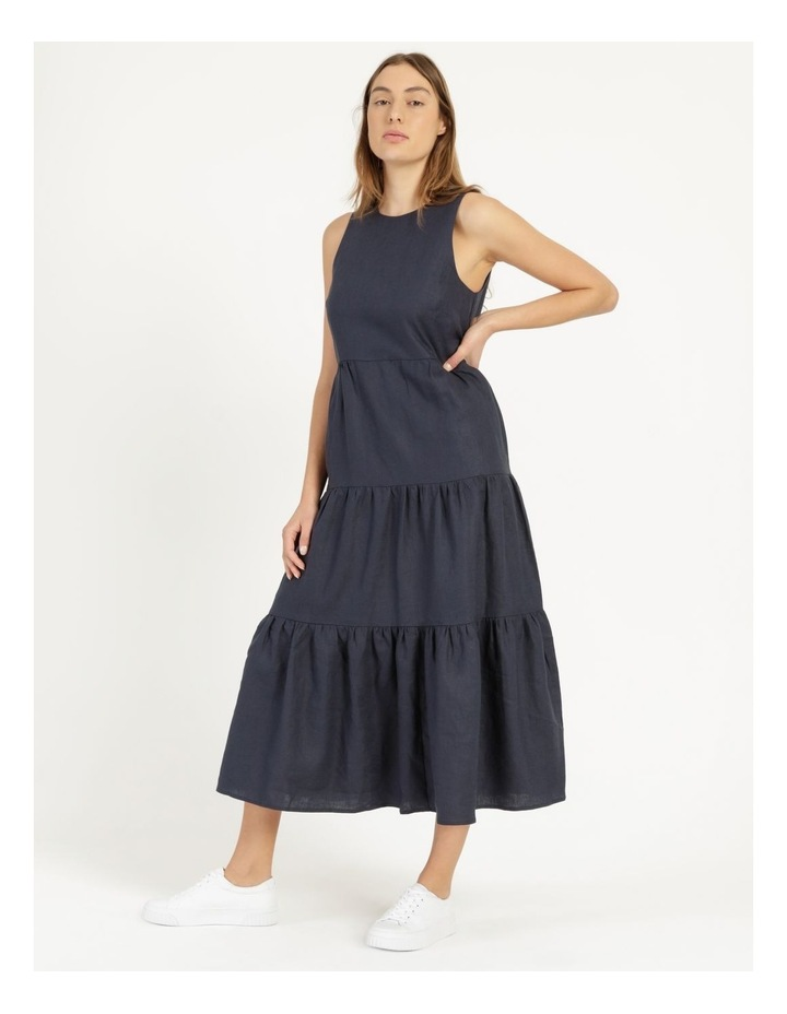 Organic Linen Tiered Tank Dress Indigo image 5