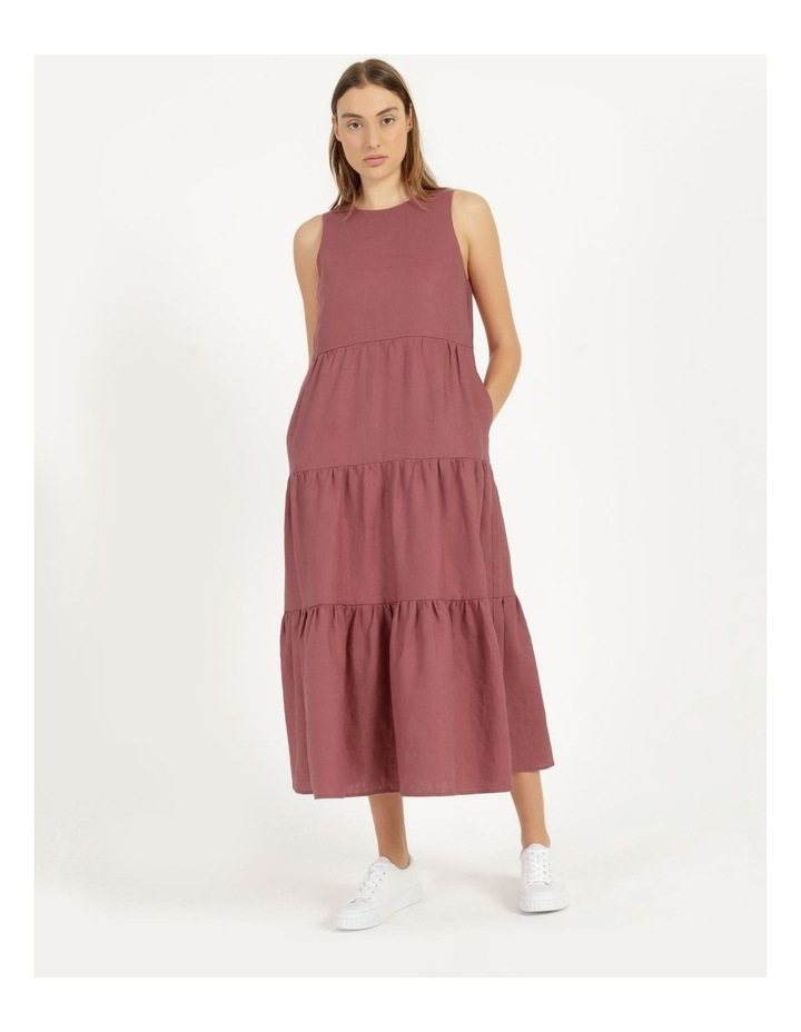 Organic Linen Tiered Tank Dress image 1