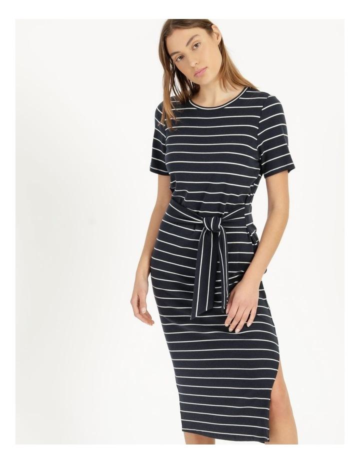 Short Sleeve Jersey Dress in Navy image 2