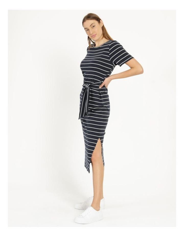 Short Sleeve Jersey Dress in Navy image 3