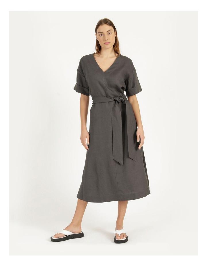 Organic Linen Short Sleeve Linen Dress Black image 1